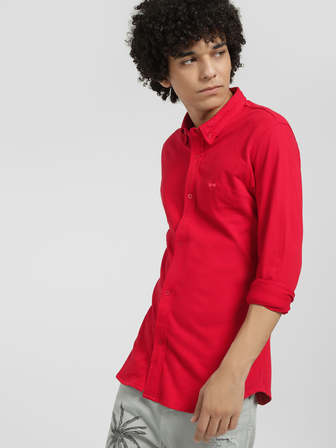 Garcon Red Knitted Pique Casual Shirt 1