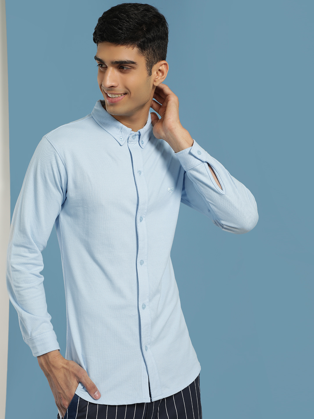 Garcon Blue Knitted Pique Casual Shirt 1