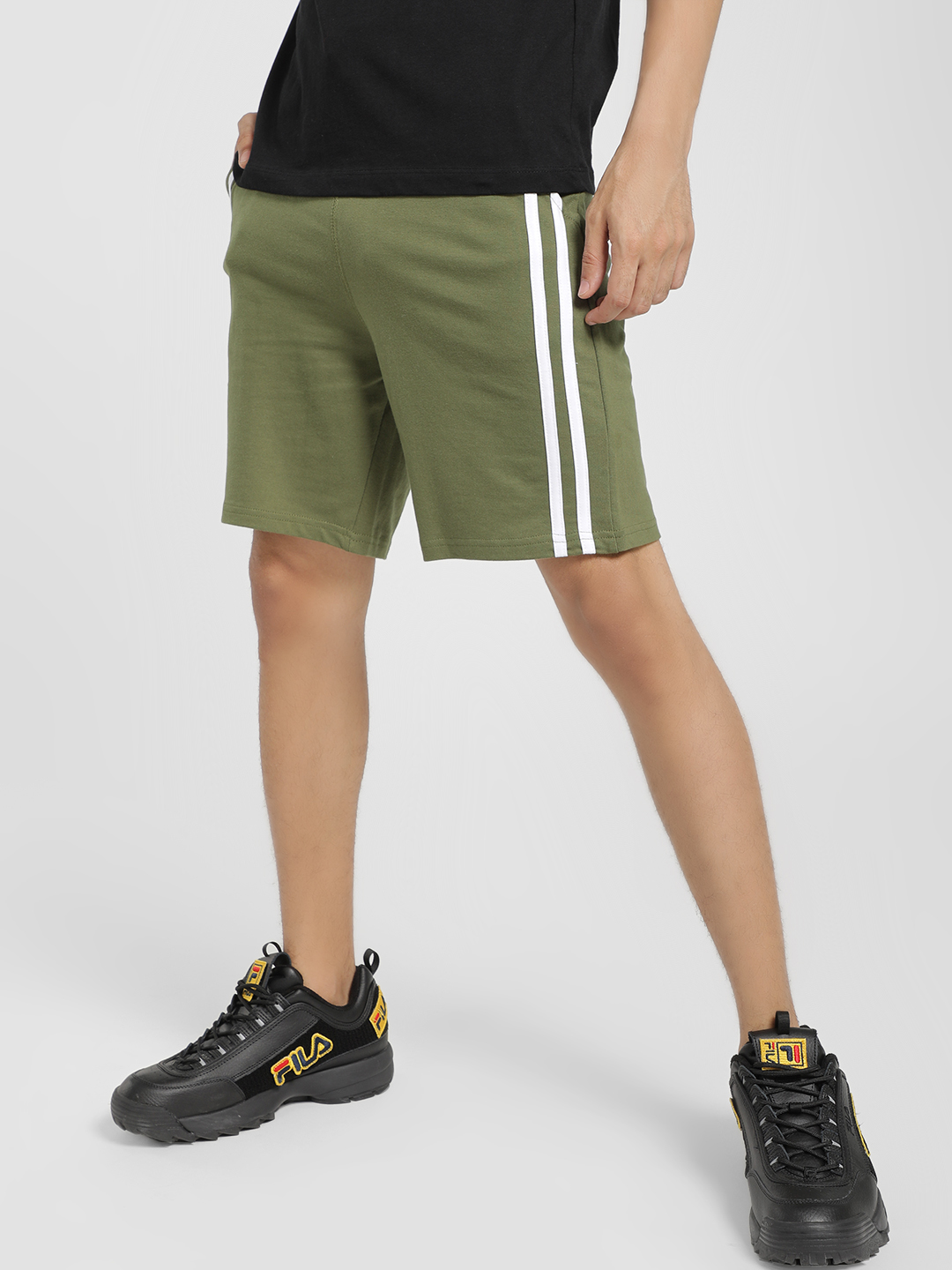 Garcon Green Contrast Side Tape Shorts 1