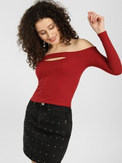 KOOVS Ribbed Front Slit Off-Shoulder Top