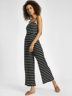 KOOVS Horizontal Stripe Strappy Jumpsuit