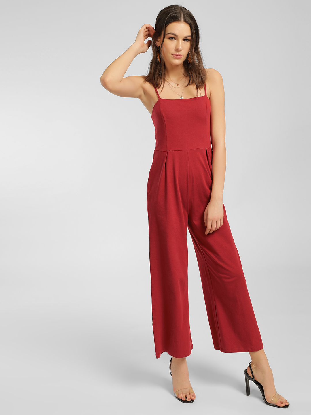 KOOVS Red Basic Strappy Jumpsuit 1