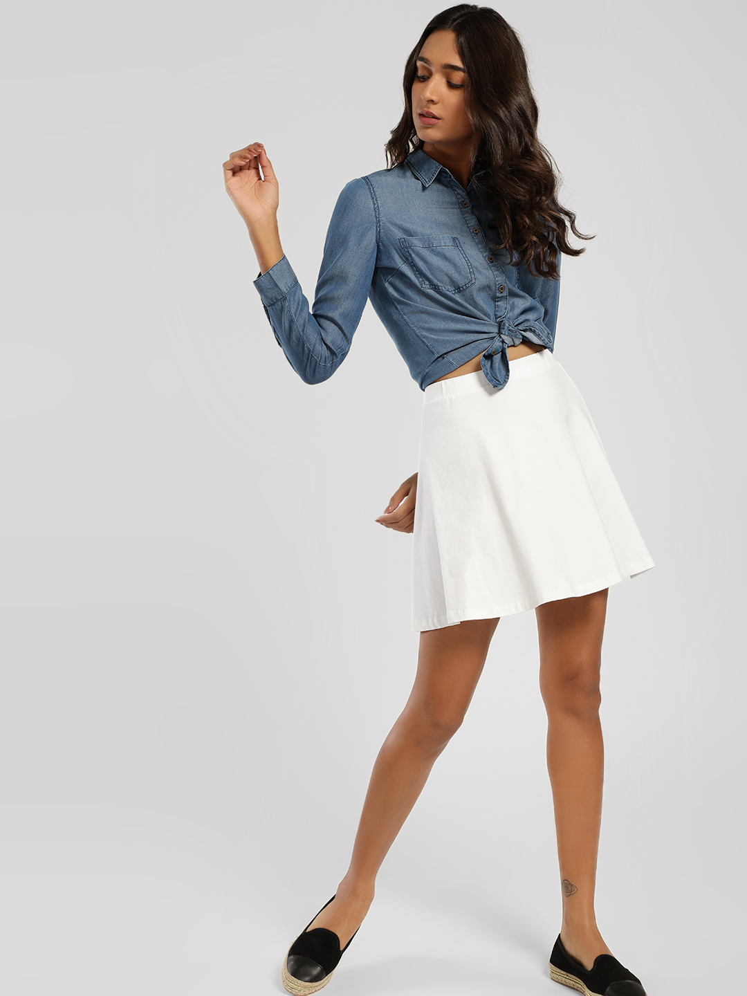 KOOVS White Basic Mini Skater Skirt 1