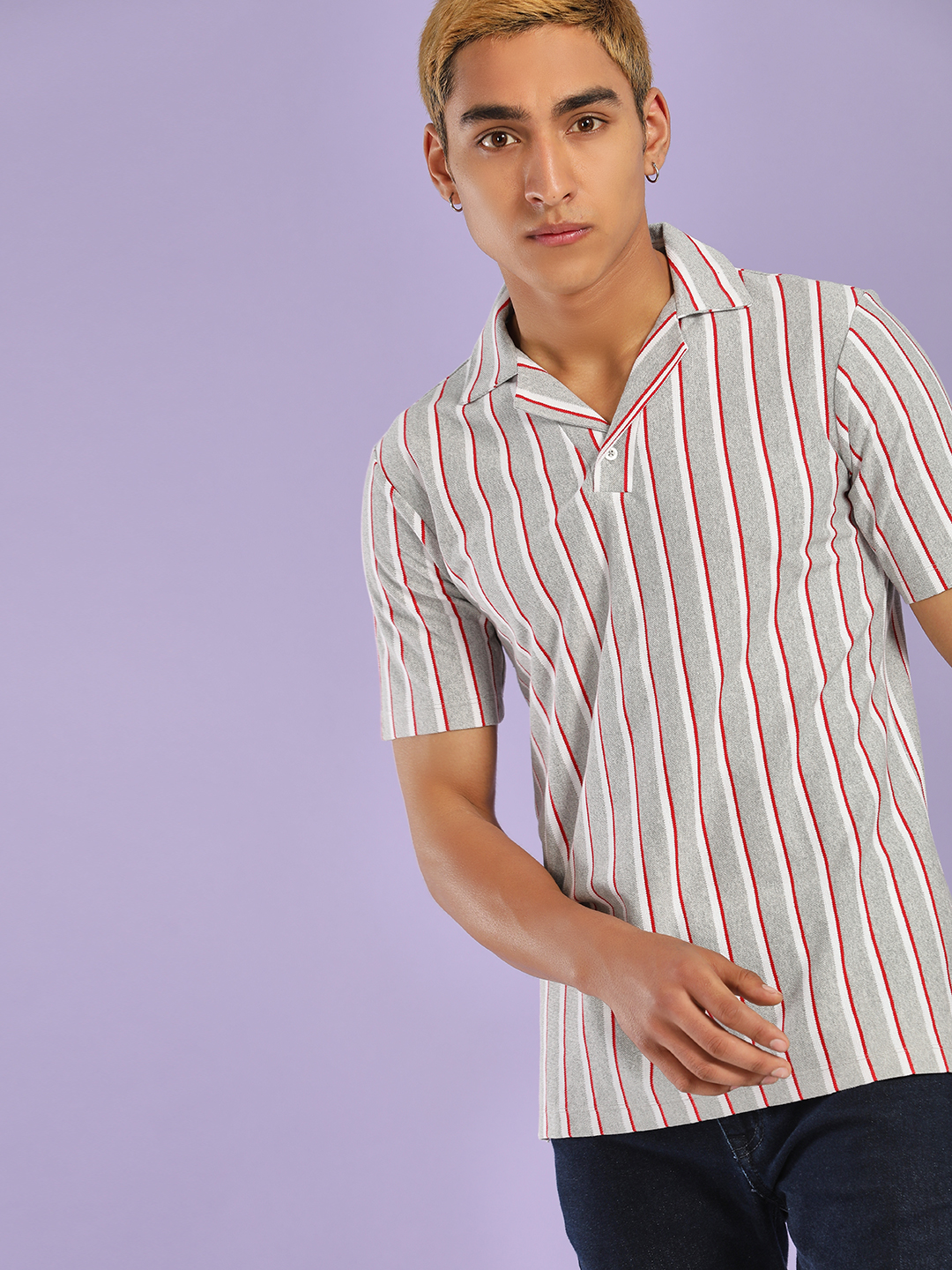 KOOVS Grey Yarn Dyed Pique Stripe Polo Shirt 1