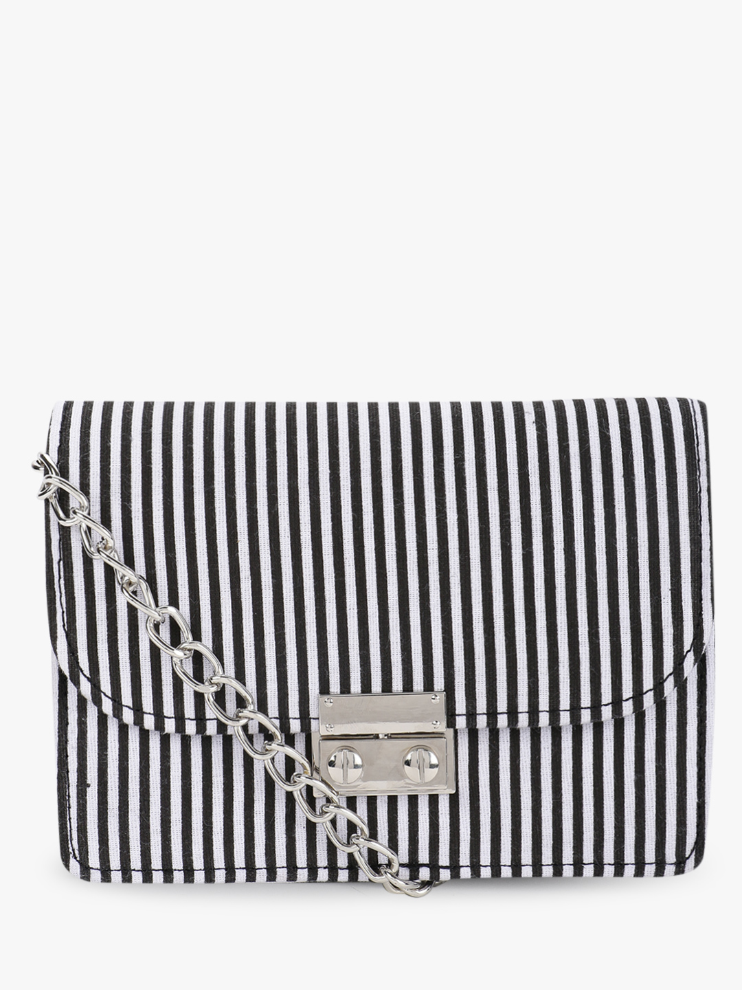 Quiz Black Vertical Stripe Sling Bag 1