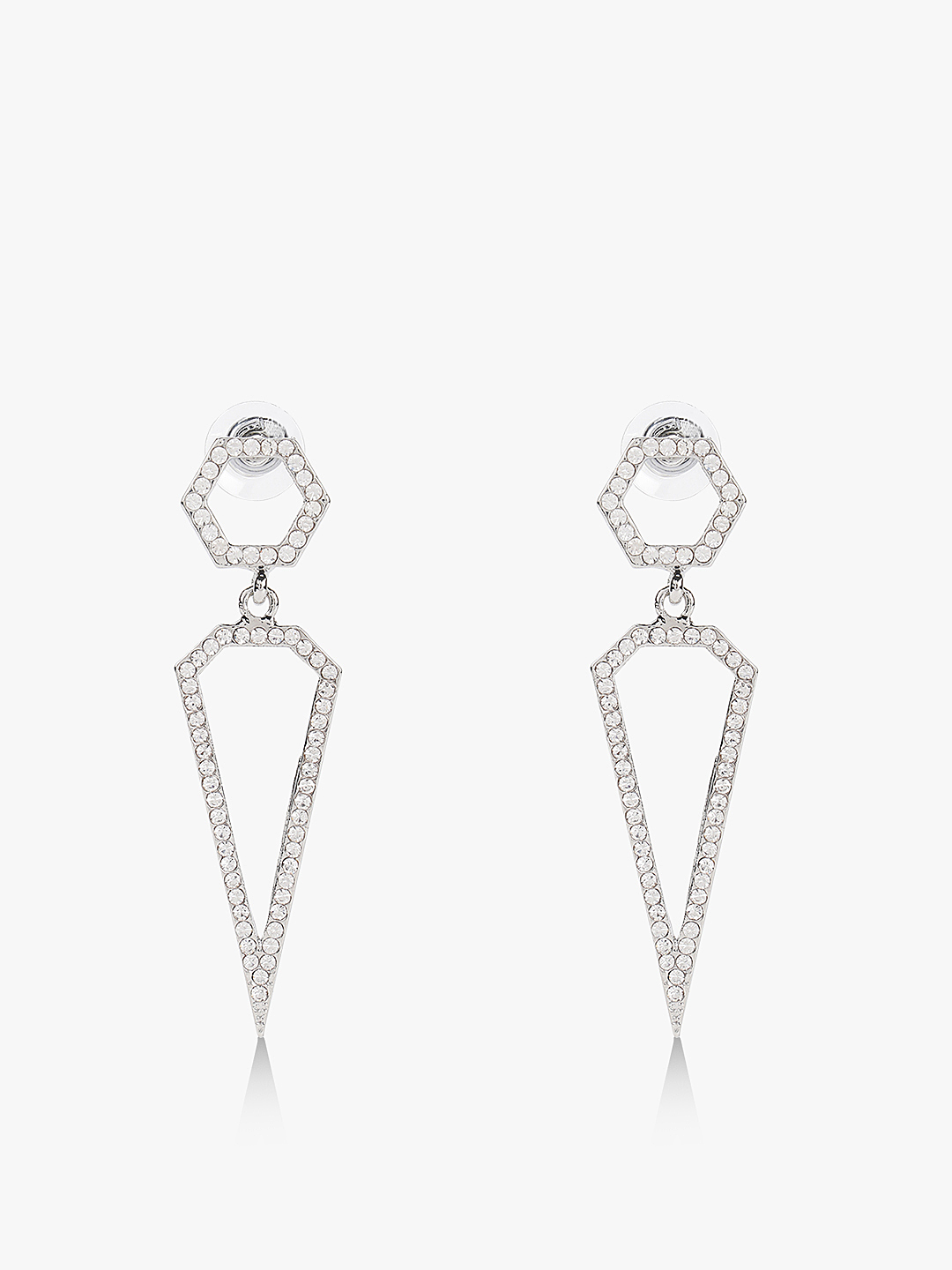 Quiz Silver Diamante Spike Earrings 1