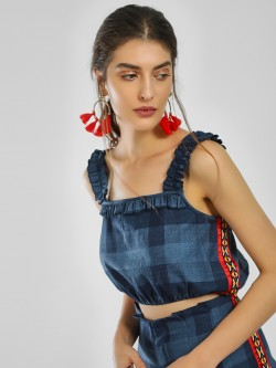 Rena Love Multi-Check Side Tape Crop Top