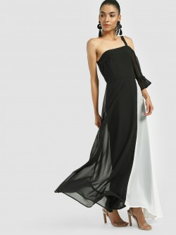 Femella Colour Block One Shoulder Maxi Dress