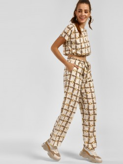 The Gud Look Chain Print Tie-Up Trousers