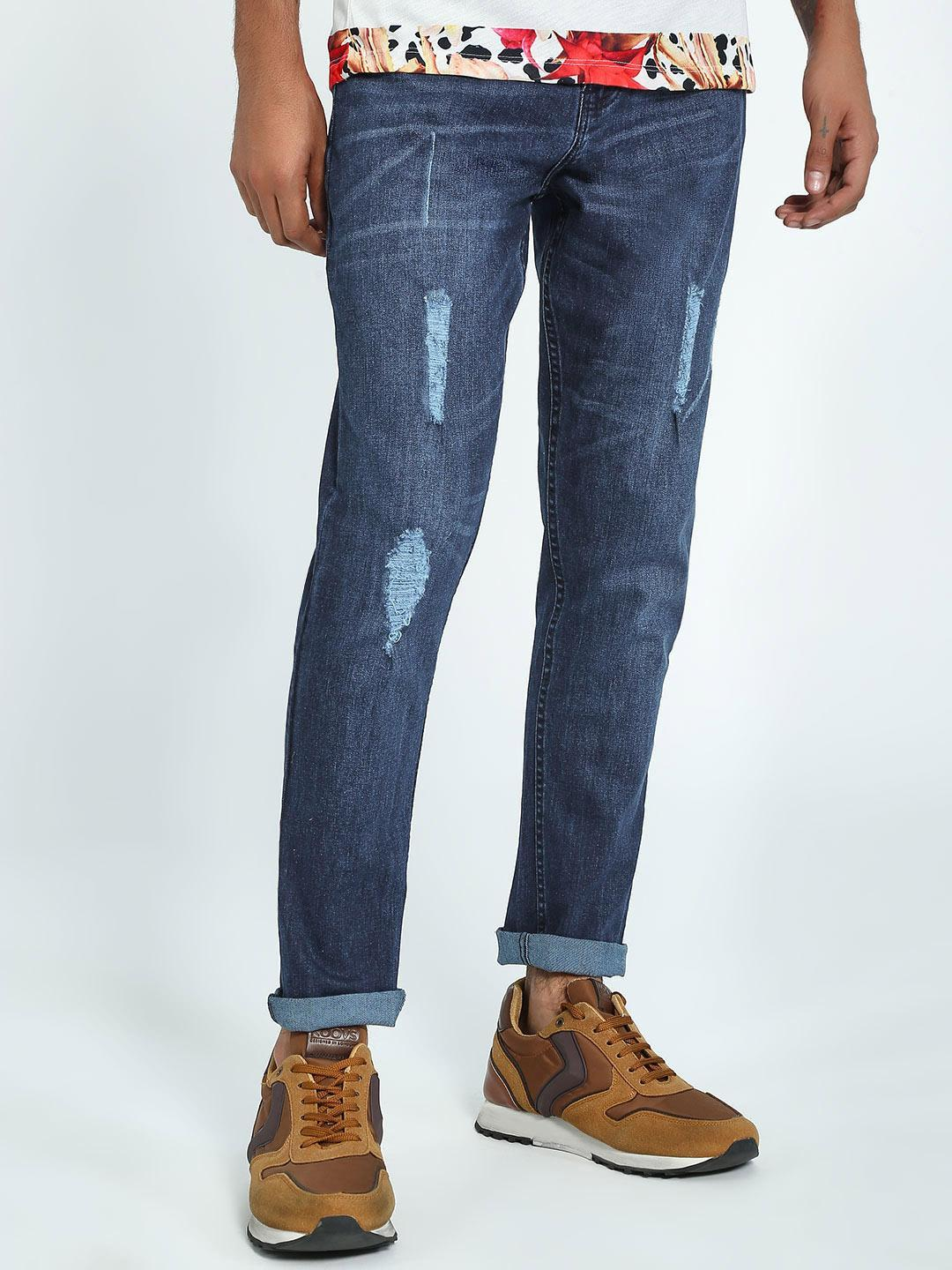 K Denim Blue KOOVS Mid Wash Distressed Slim Jeans 1