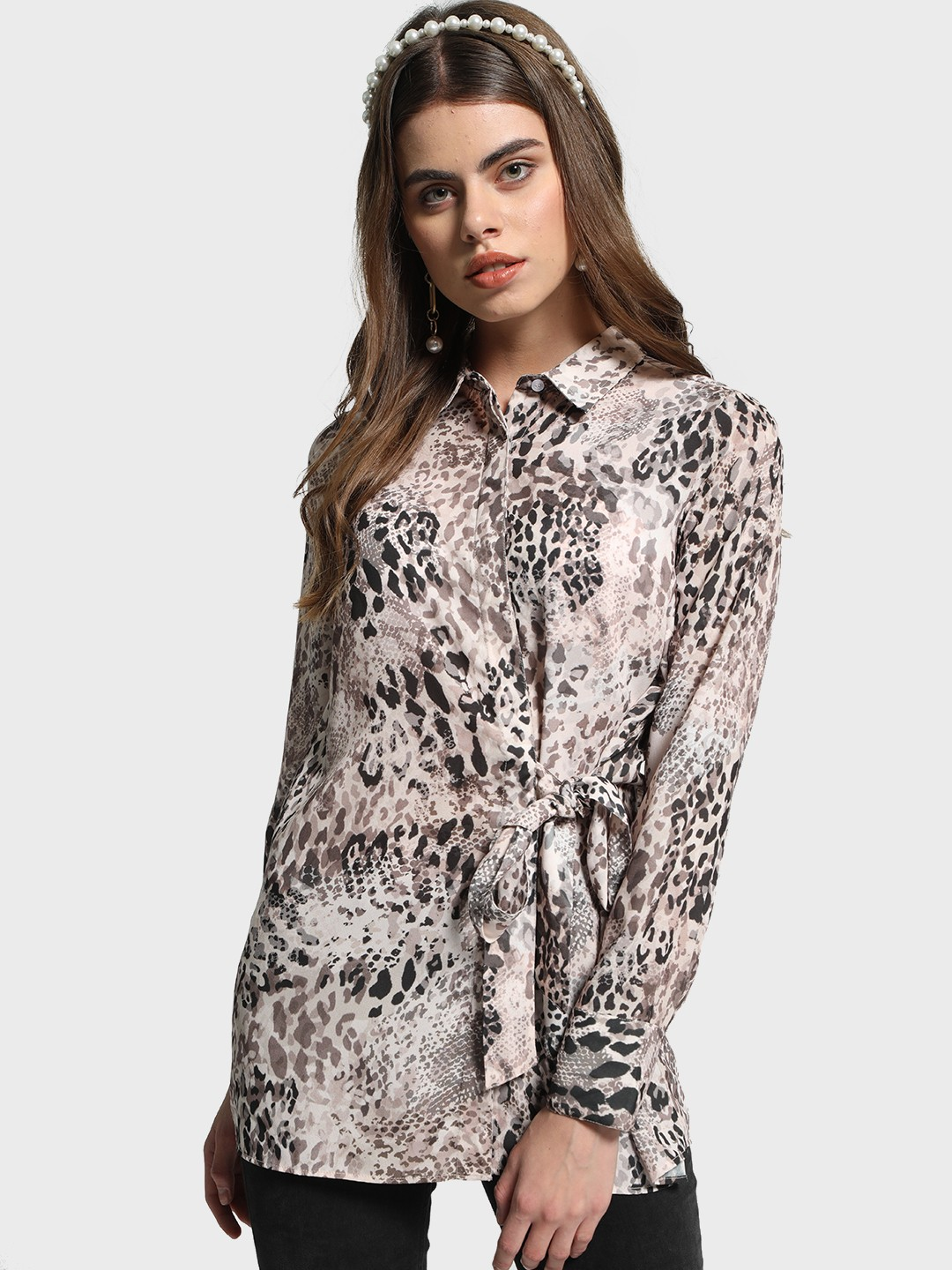 Cover Story Multi Animal Print Side Tie-Up Shirt 1