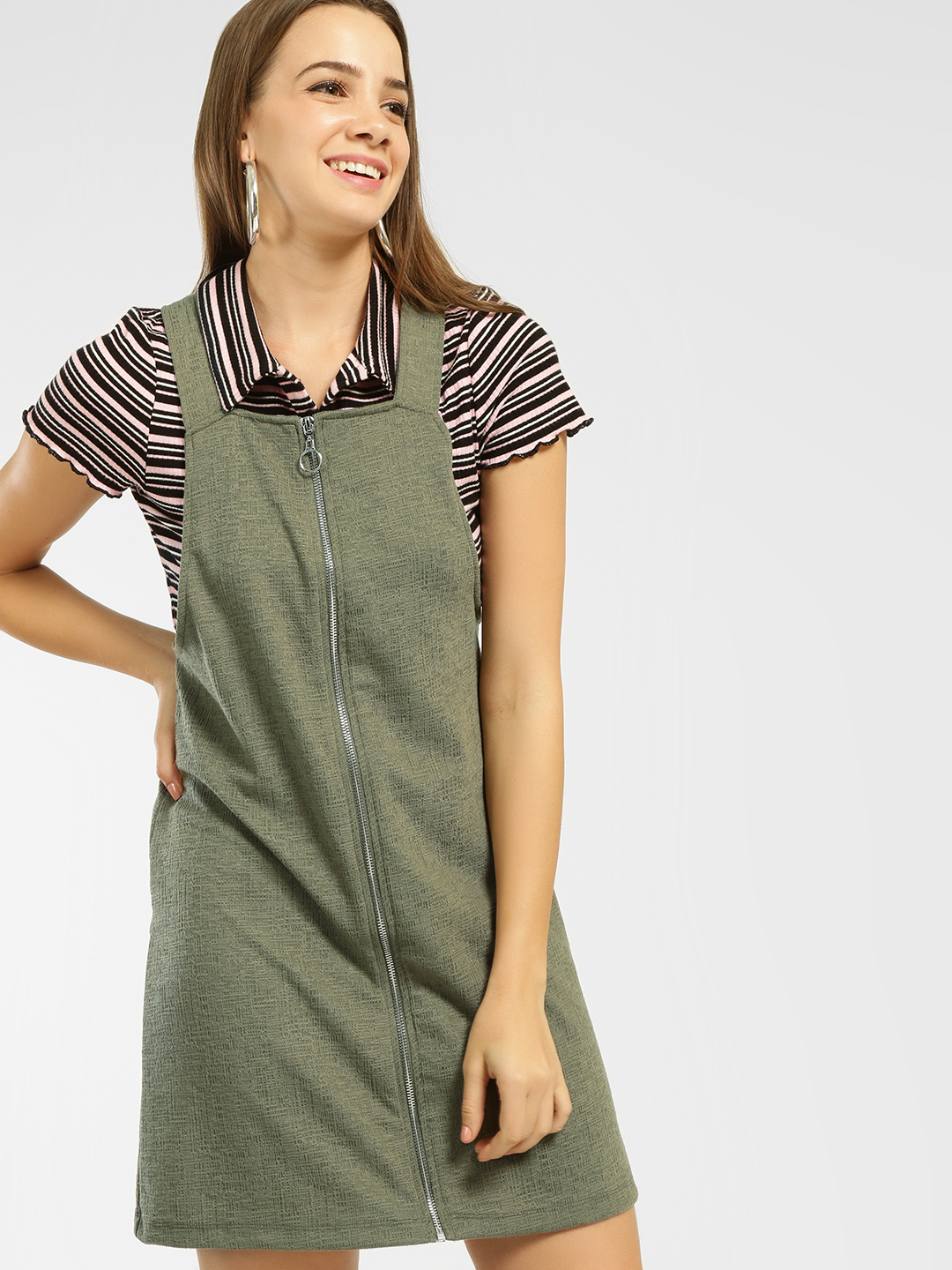 New Look Khaki Zipper Front Pinafore Dress 1