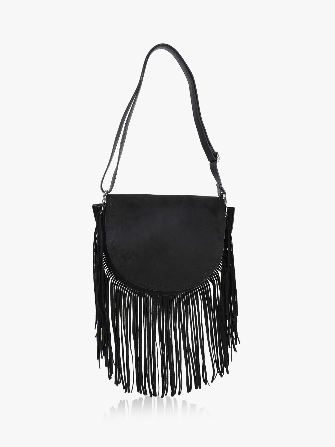 New Look Black Suede Fringe Sling Bag 1
