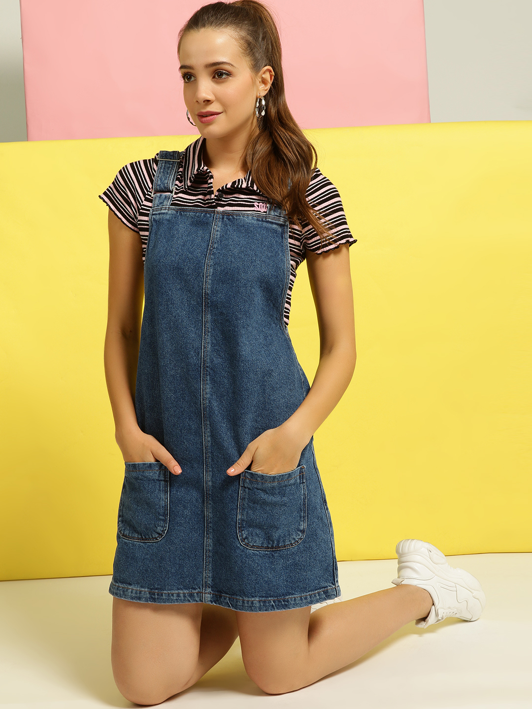 New Look Blue Denim Pinafore Shift Dress 1