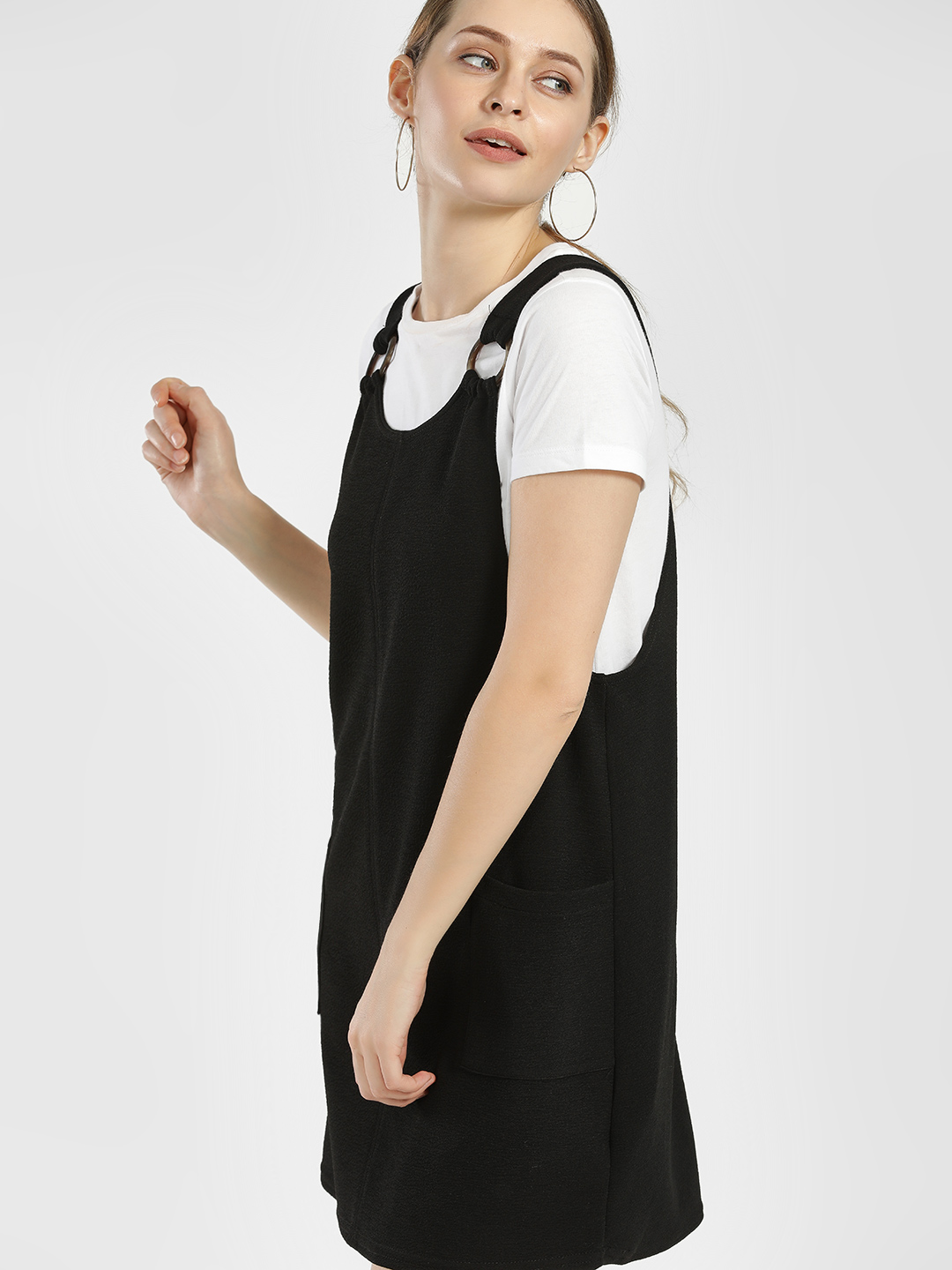New Look Black Twin Pocket Pinafore Dress 1