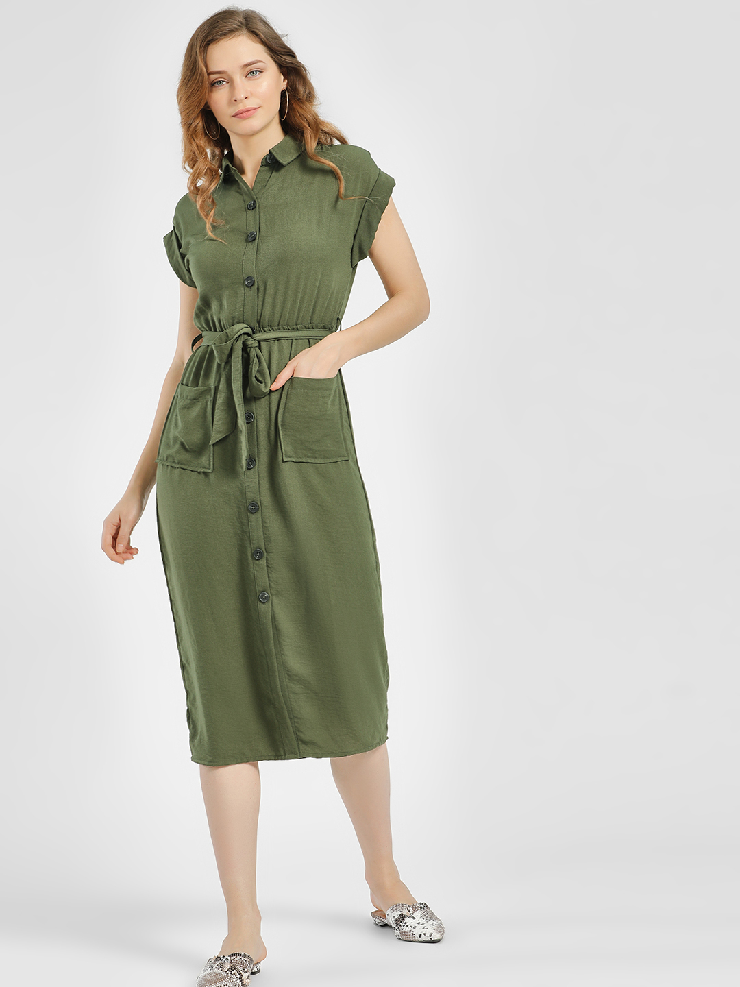New Look Olive Belted Midi Shirt Dress 1