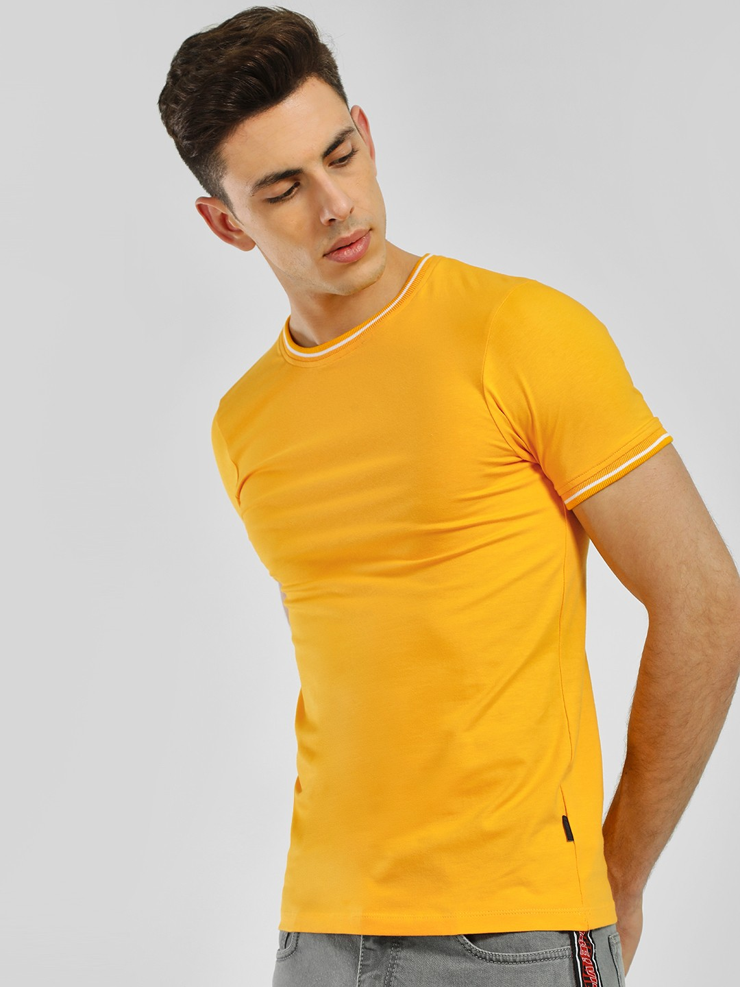 KOOVS Yellow Muscle Fit Ringer T-Shirt 1
