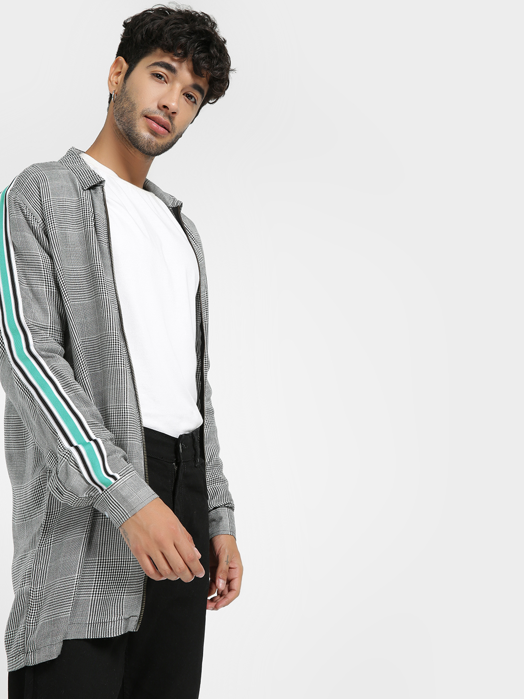 KOOVS Multi Contrast Tape Glen Check Jacket 1