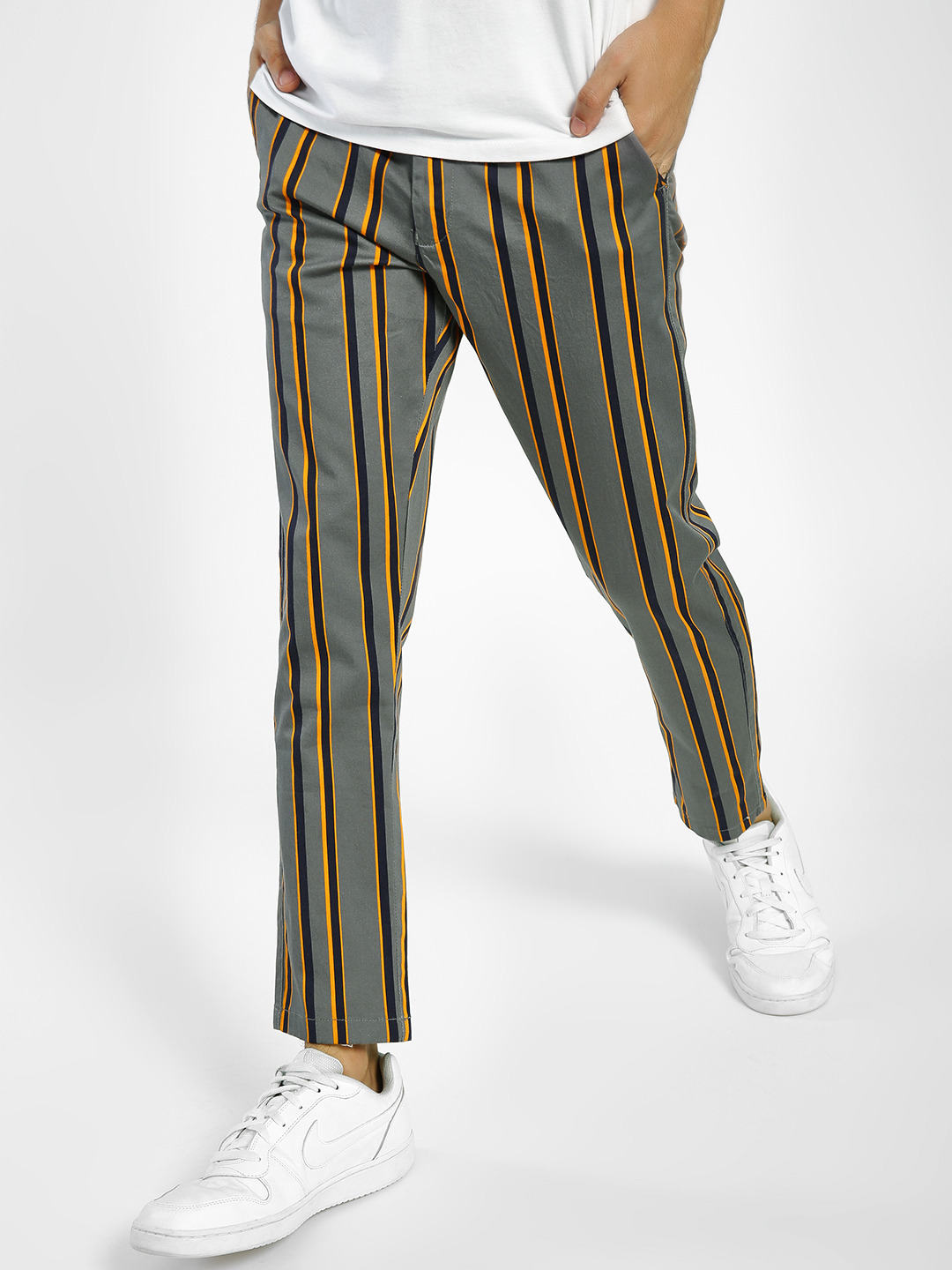 KOOVS Multi Multi-Stripe Print Cropped Trousers 1