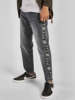 K Denim KOOVS Washed Text Tape Straight Jeans