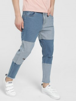 K Denim KOOVS Colour Block Slim Jeans