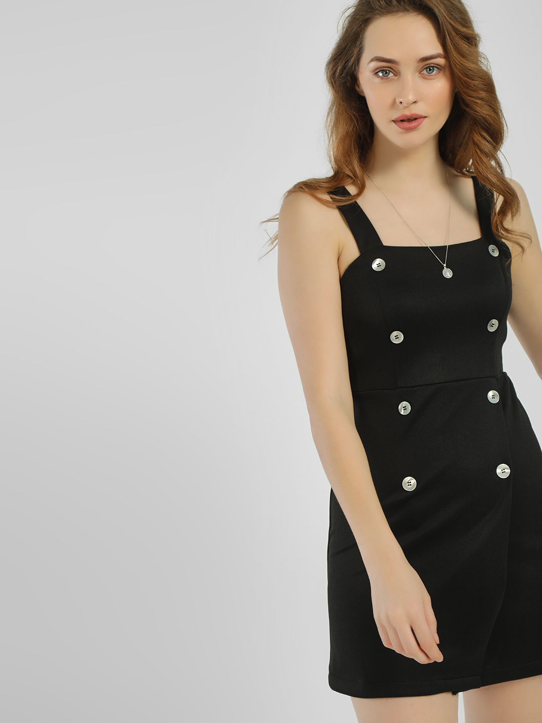 KOOVS Black Double-Breasted Pinafore Bodycon Dress 1