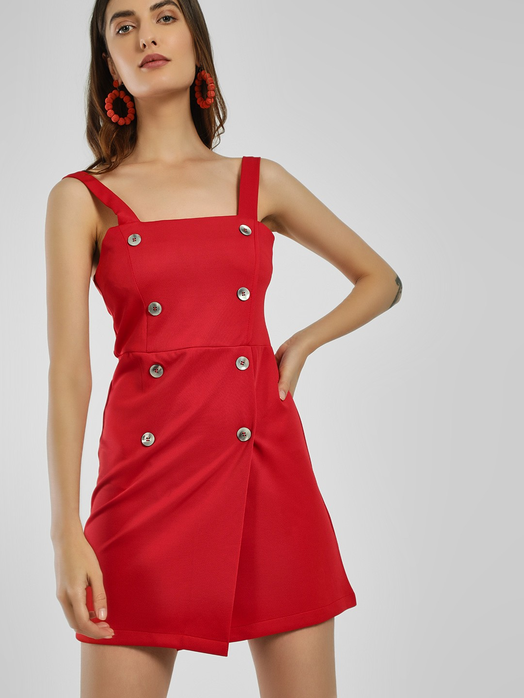 KOOVS Red Double-Breasted Pinafore Bodycon Dress 1