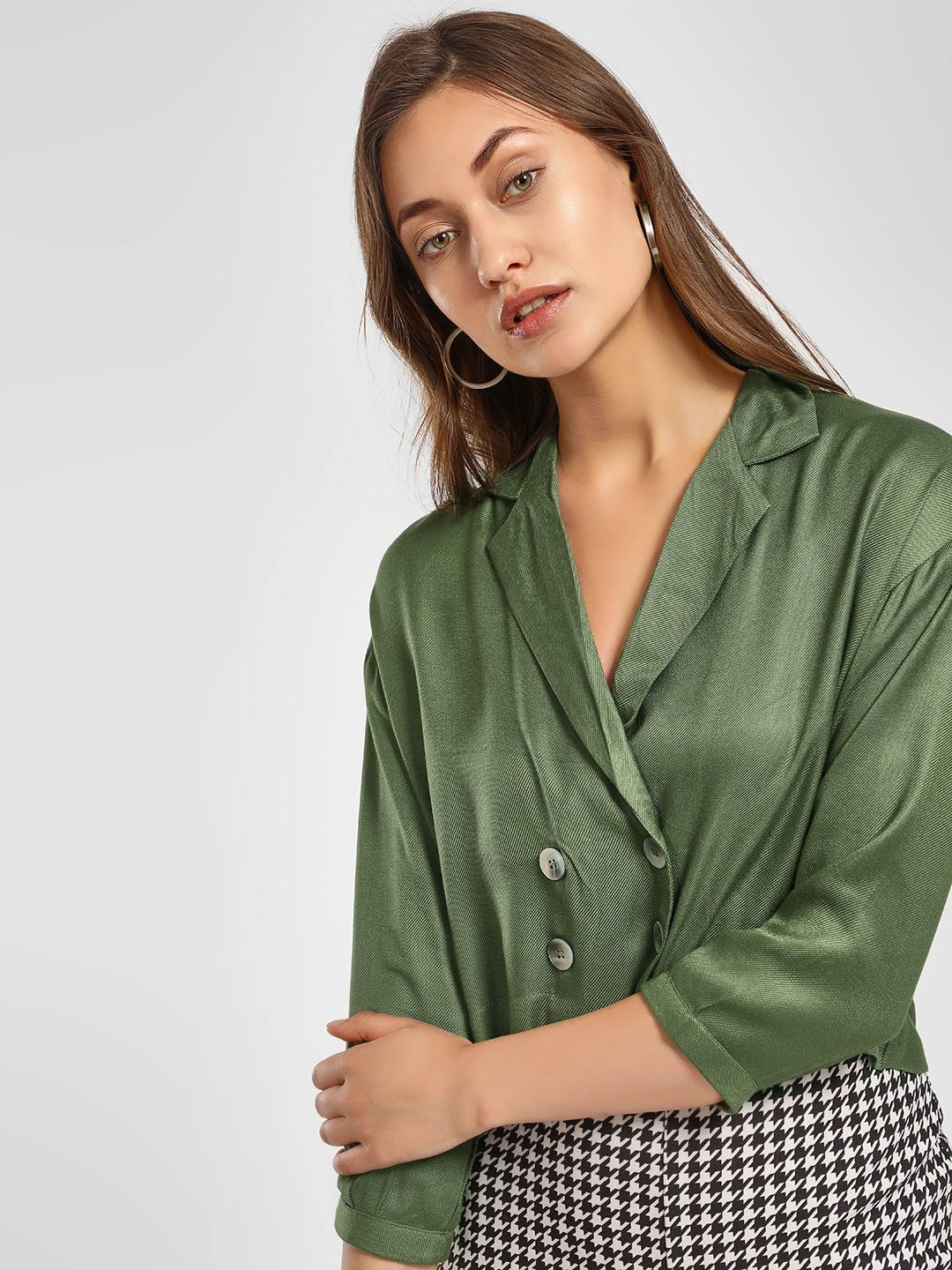 KOOVS Green Double-Breasted Crop Top 1