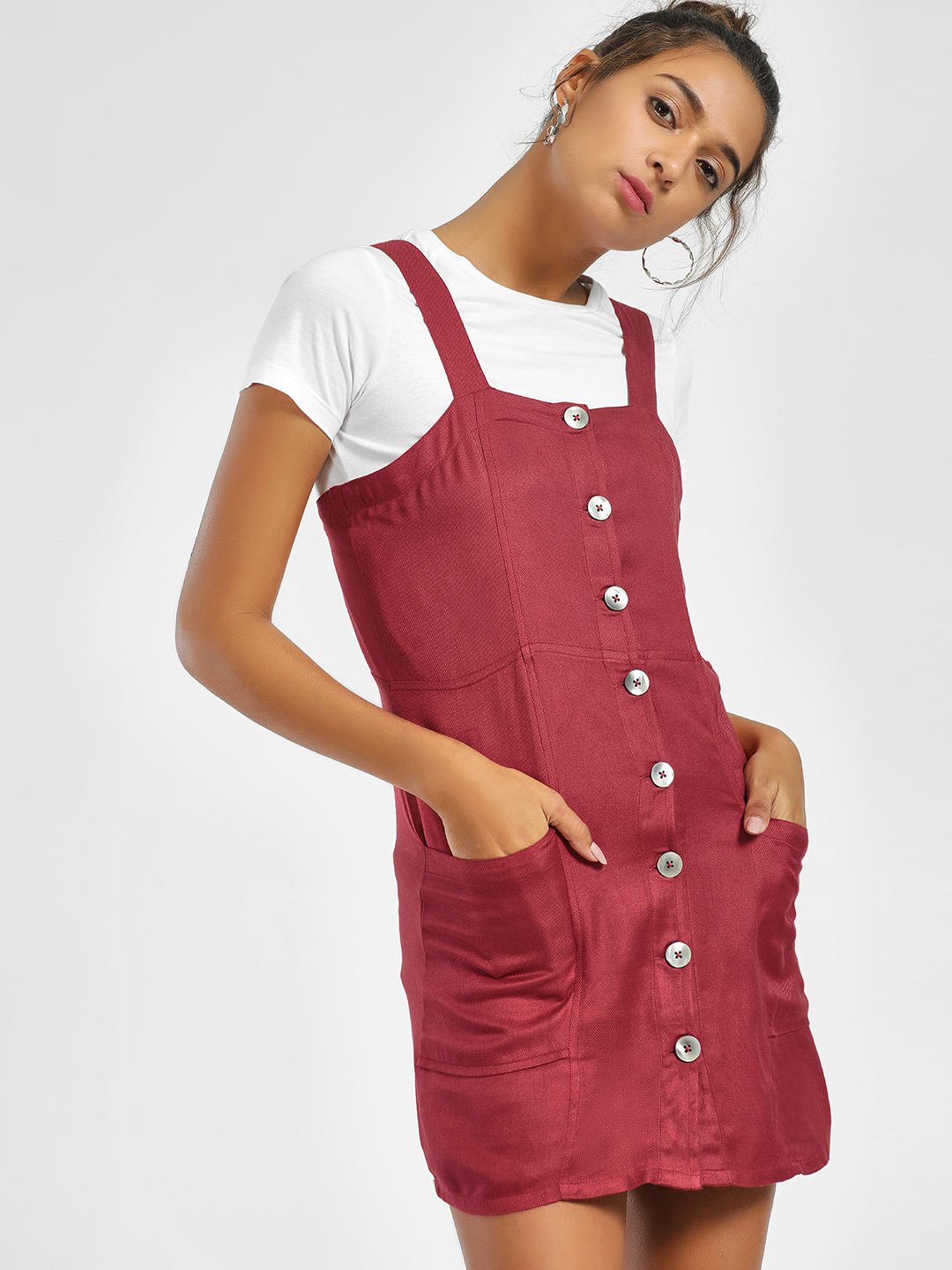 KOOVS Maroon Button Down Strappy Shift Dress 1
