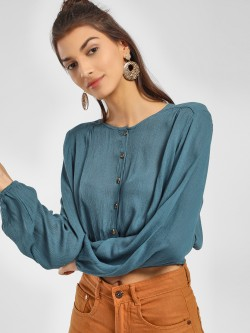 KOOVS Smocked Hem Peasant Blouse