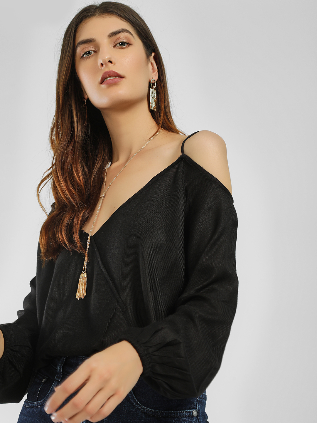 KOOVS Black Cold Shoulder Wrap Top 1