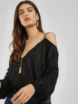KOOVS Cold Shoulder Wrap Top