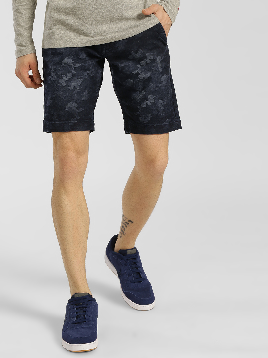 Being Human Blue Ombre Camouflage Denim Shorts 1