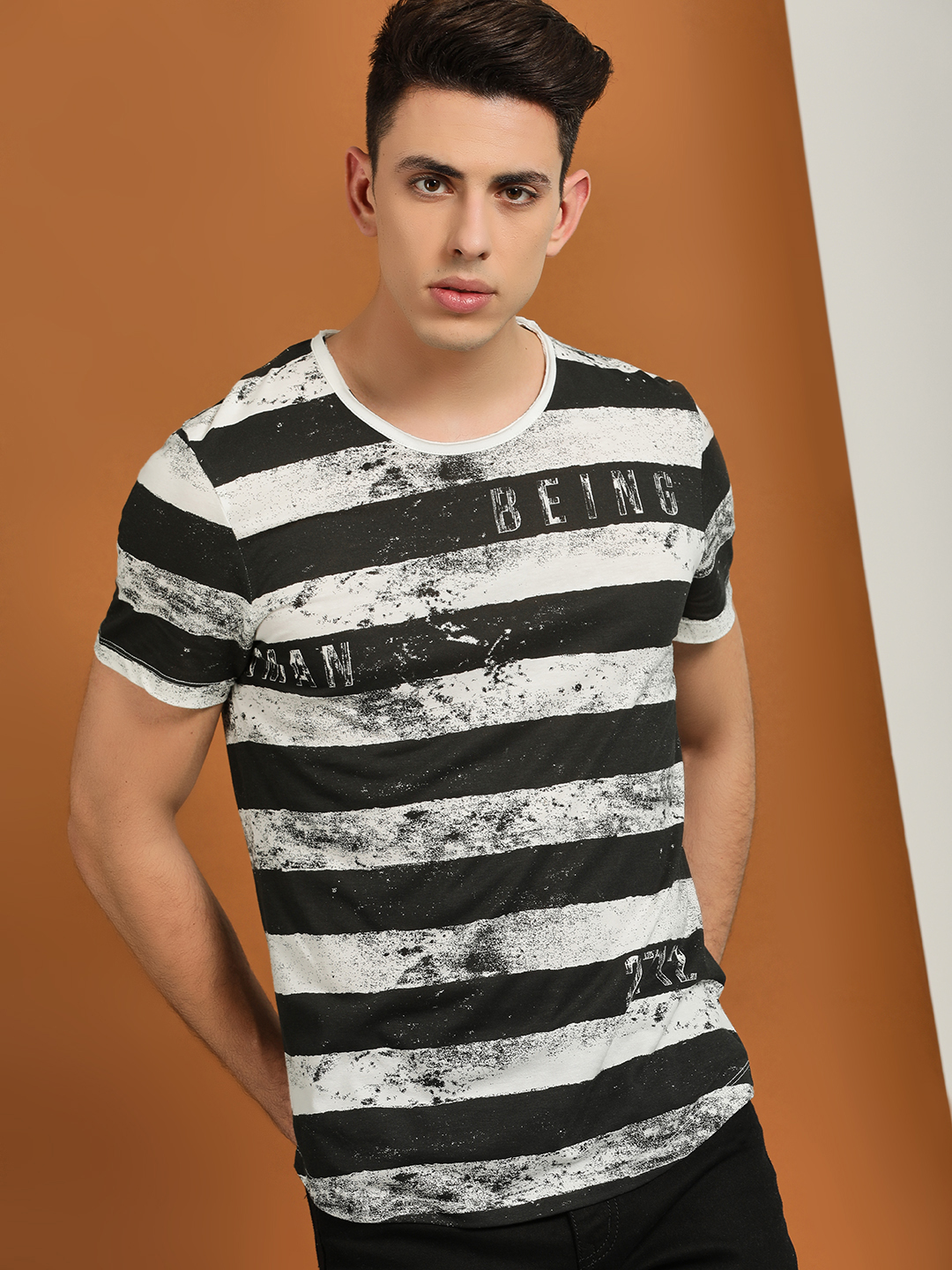Being Human Multi Striped Smudge Printed T-Shirt 1