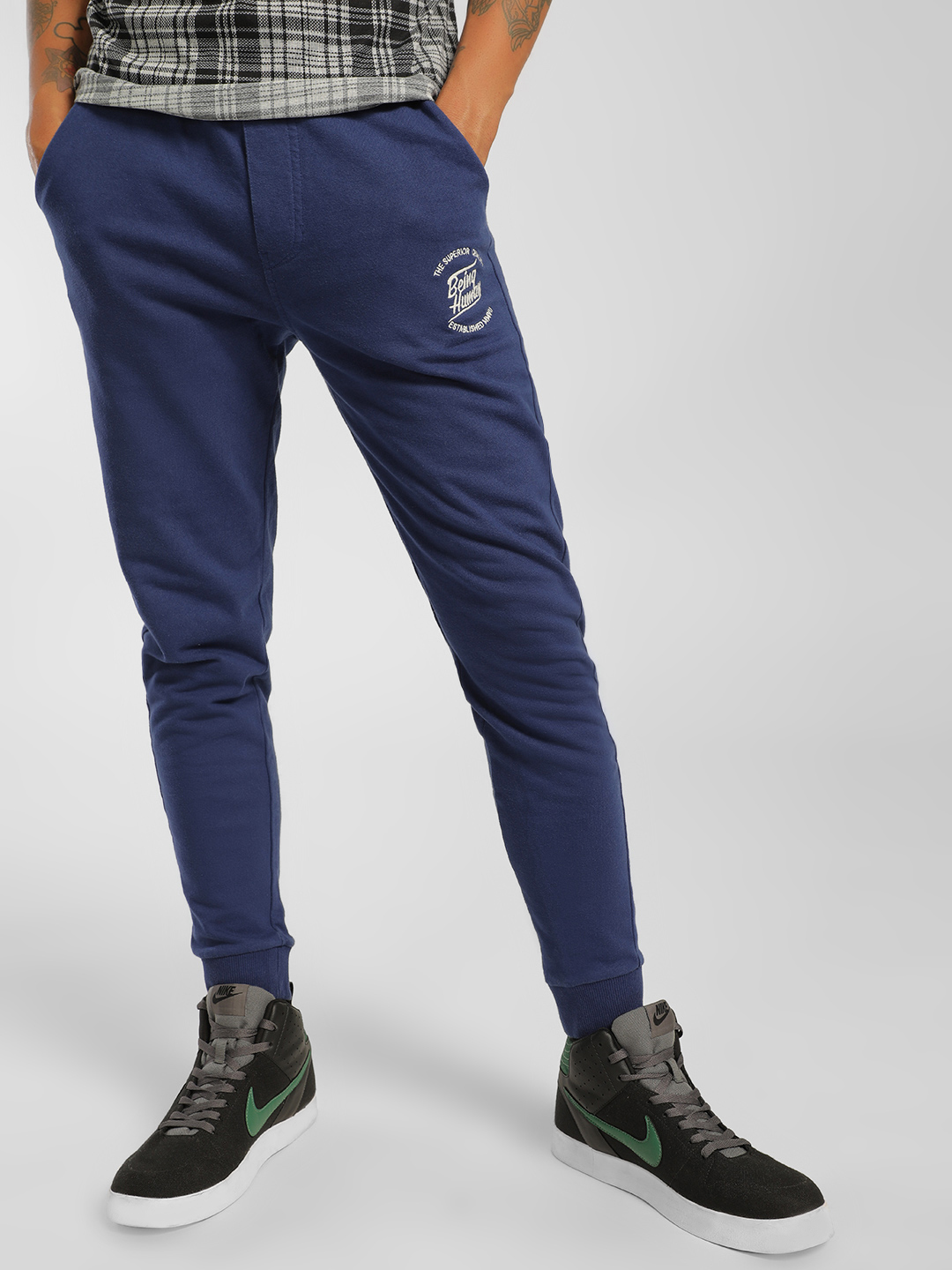 Being Human Blue Knitted Logo Cuffed Joggers 1