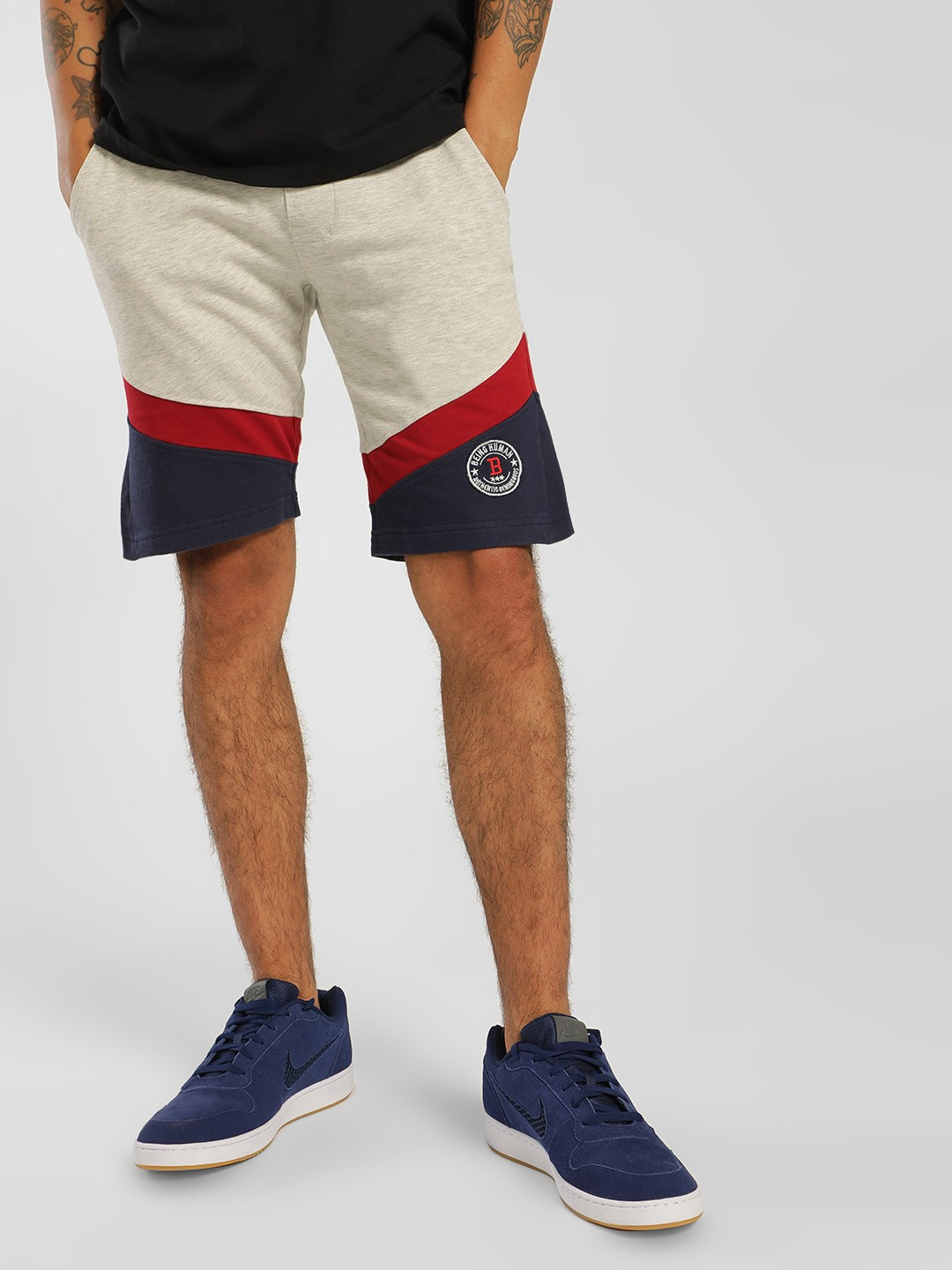 Being Human Multi Colour Block Knitted Shorts 1