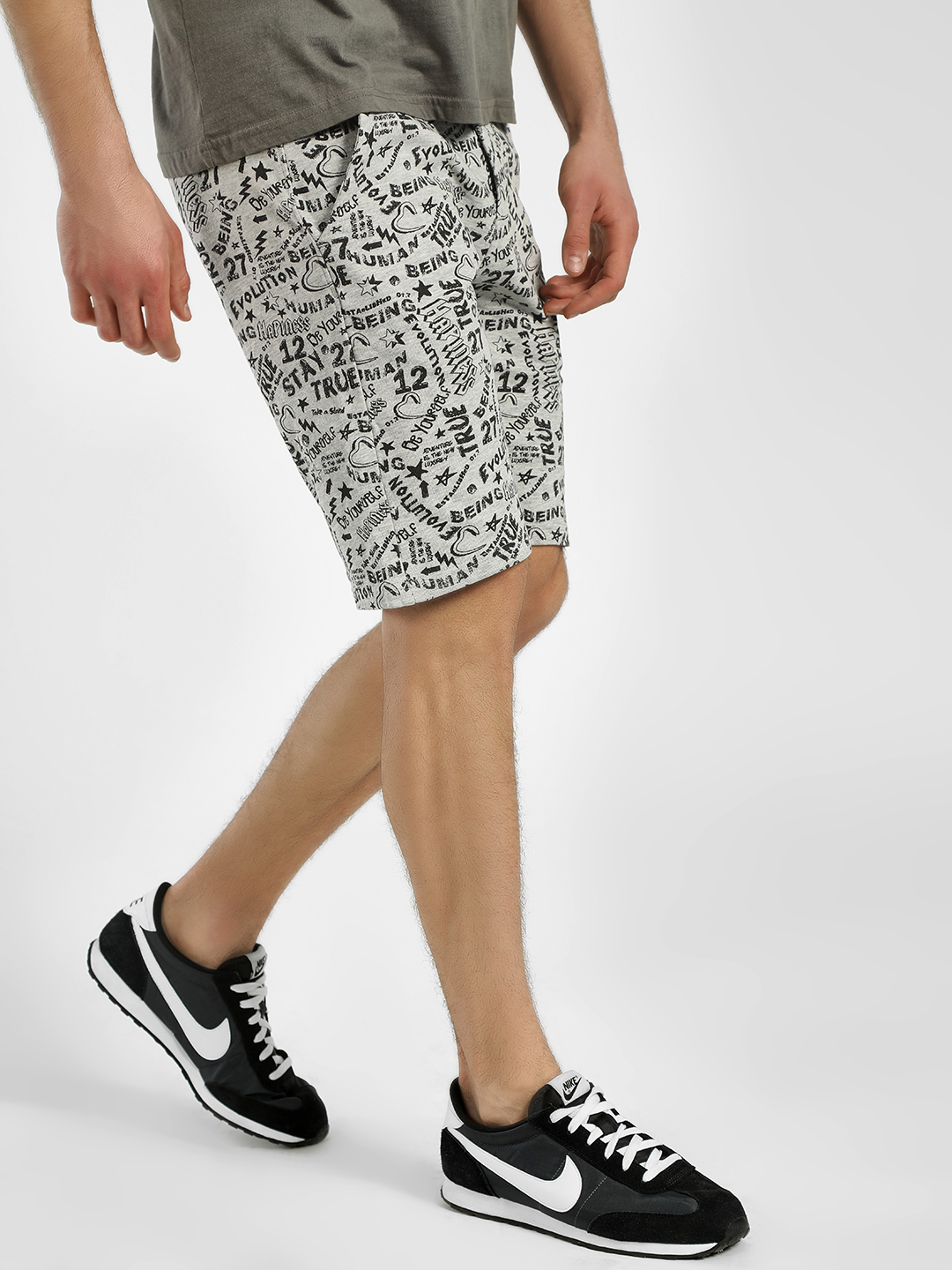 Being Human Grey All Over Scribble Print Shorts 1