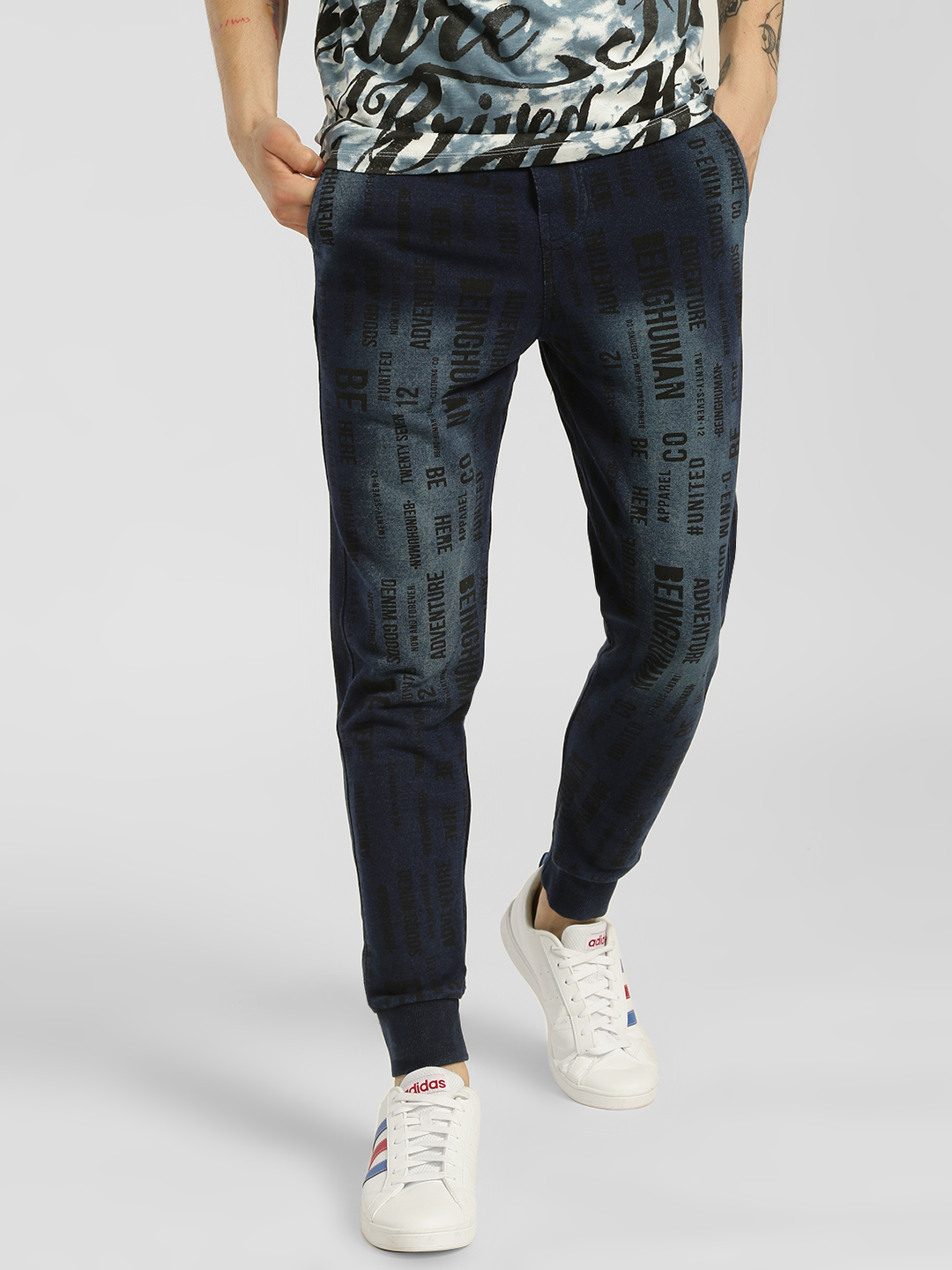 Being Human Blue Ombre Text Print Joggers 1