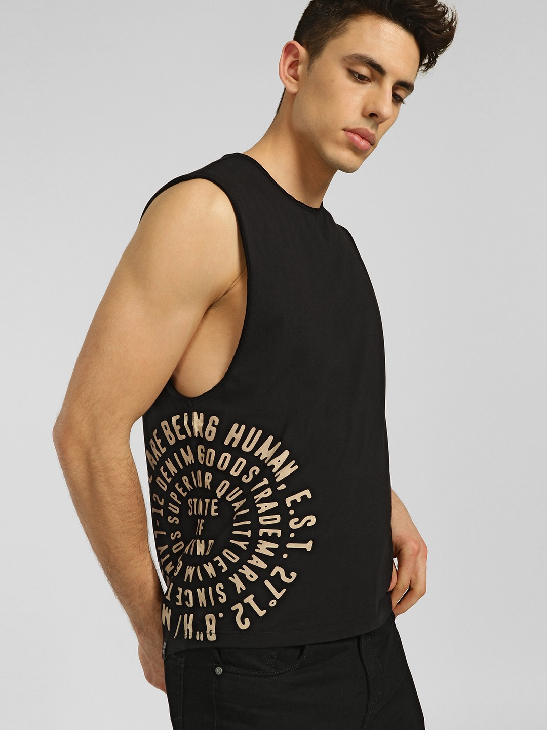 Being Human Black Slogan Print Chakra Vest 1