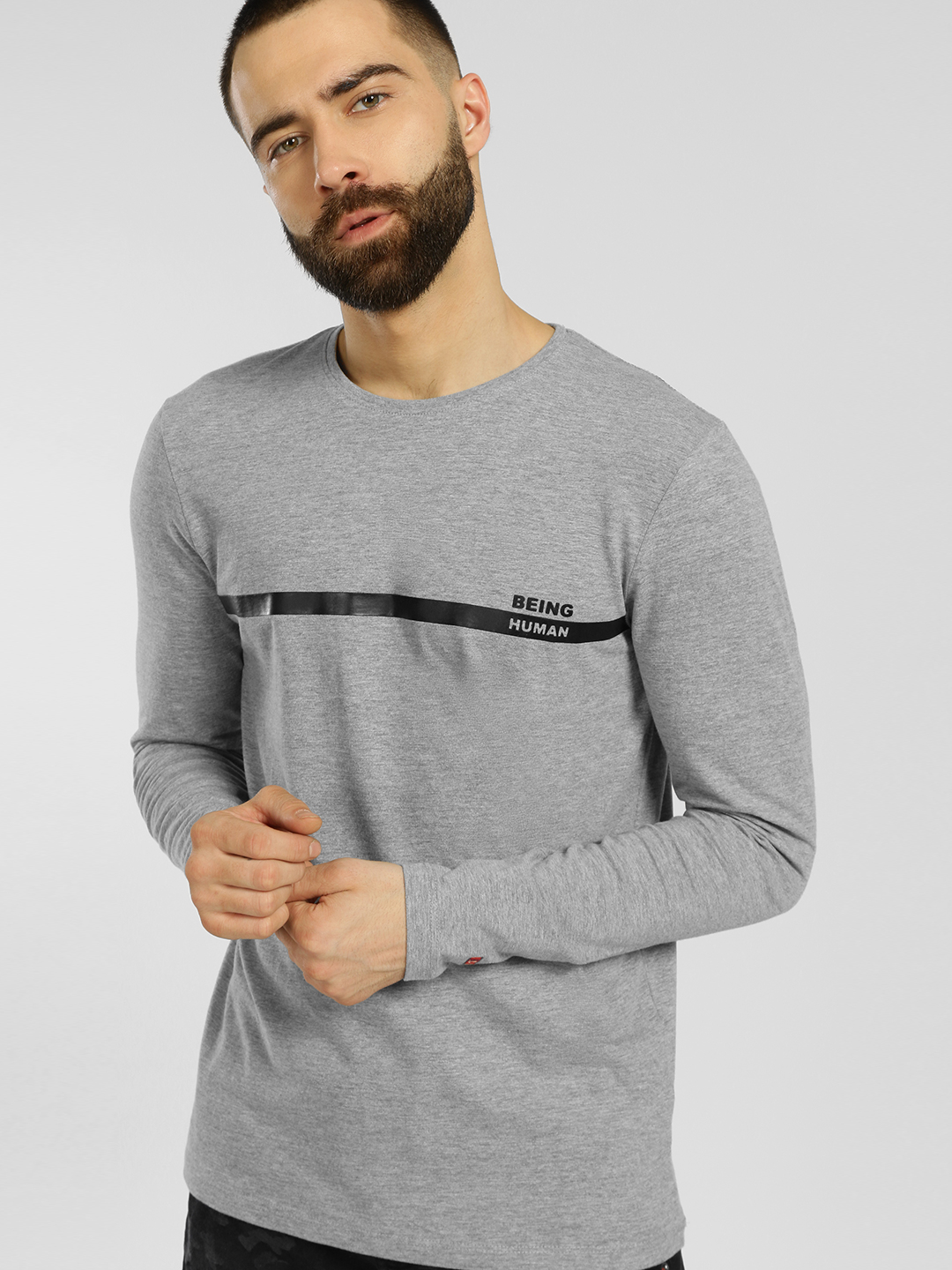 Being Human Grey Melange Long Sleeve T-Shirt 1
