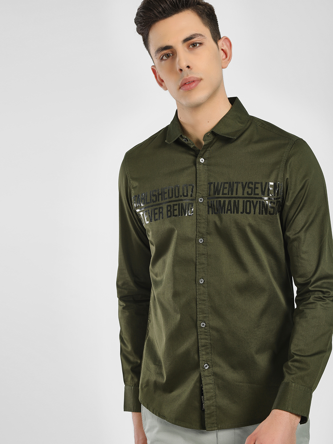 Being Human Green Text Embossed Long Sleeve Shirt 1