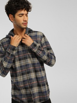 Being Human Flannel Check Hooded Shirt
