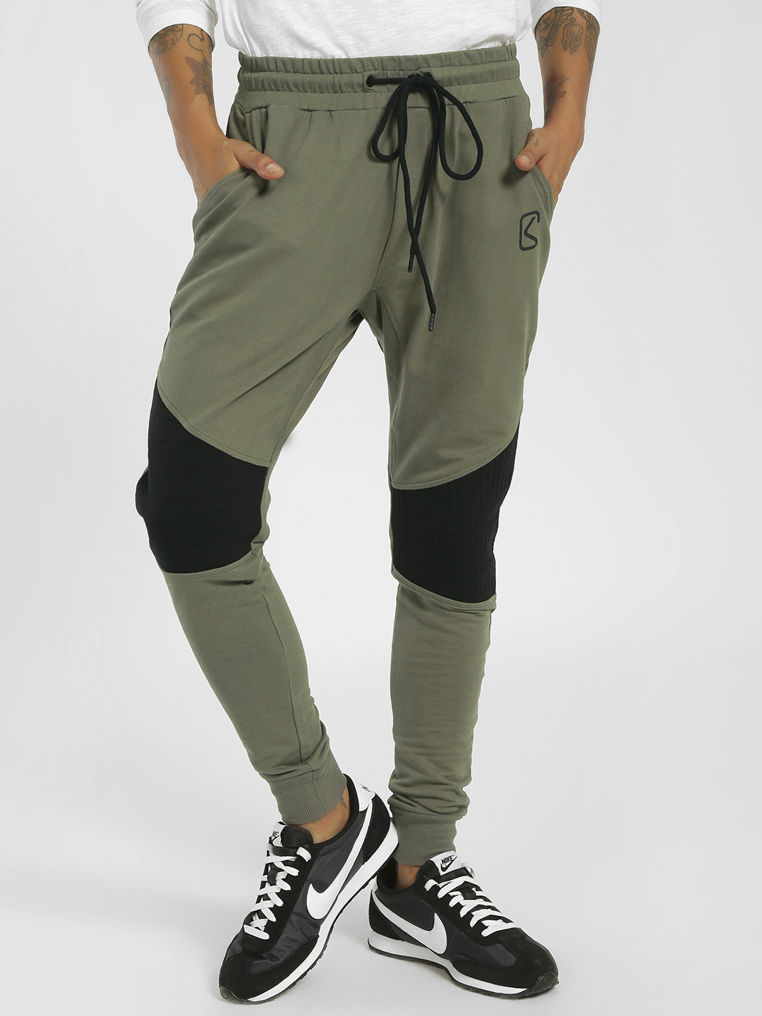 SKULT By Shahid Kapoor Green Quilted Biker Panel Joggers 1