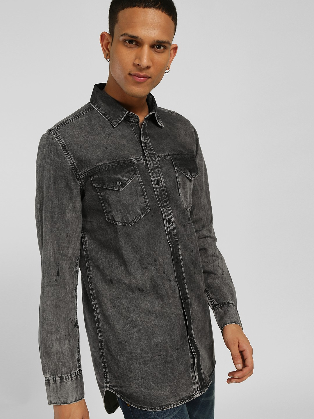 SKULT By Shahid Kapoor Grey Acid Wash Longline Denim Shirt 1
