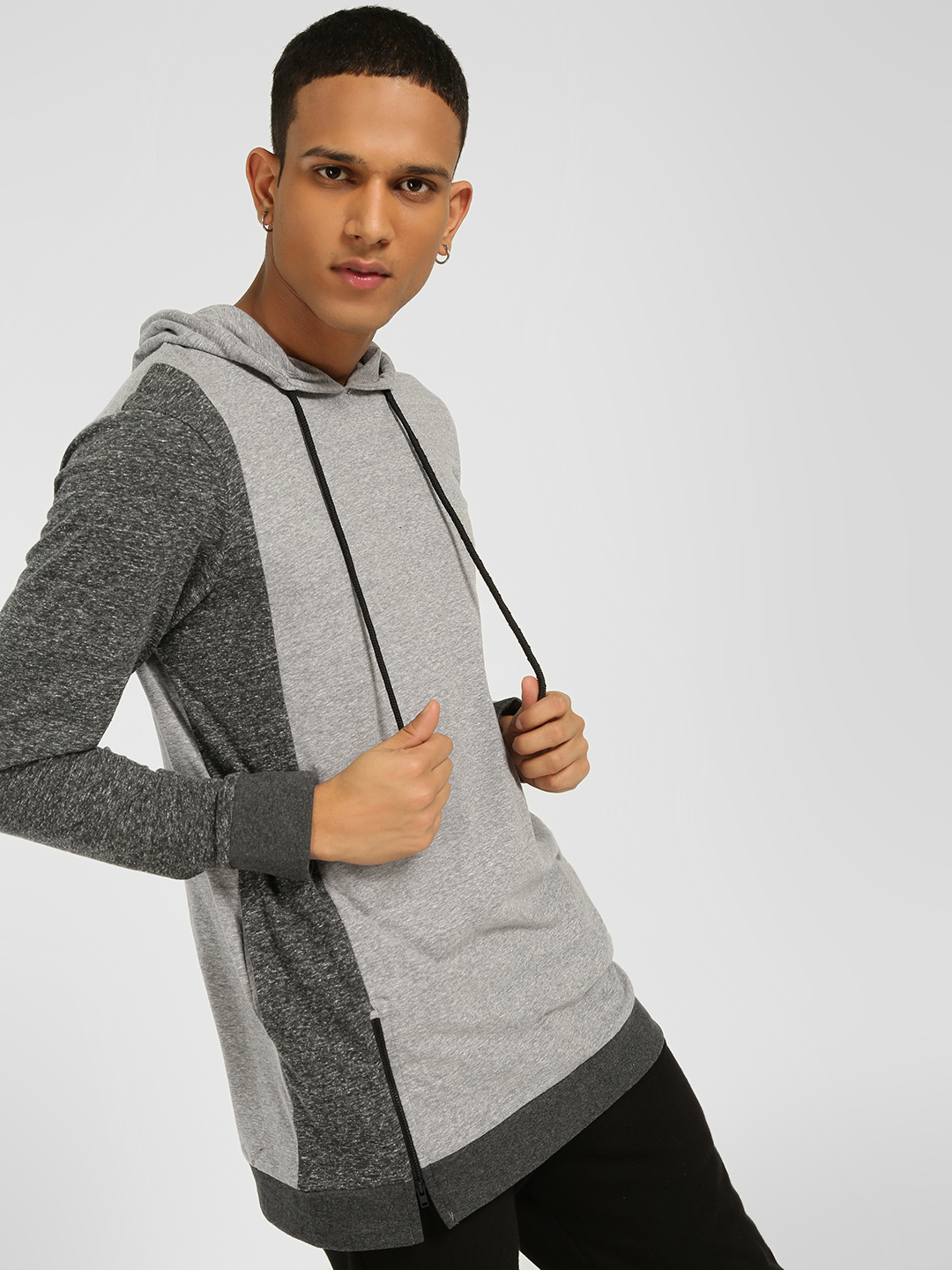 SKULT By Shahid Kapoor Grey Cut & Sew Colour Block Hoodie 1