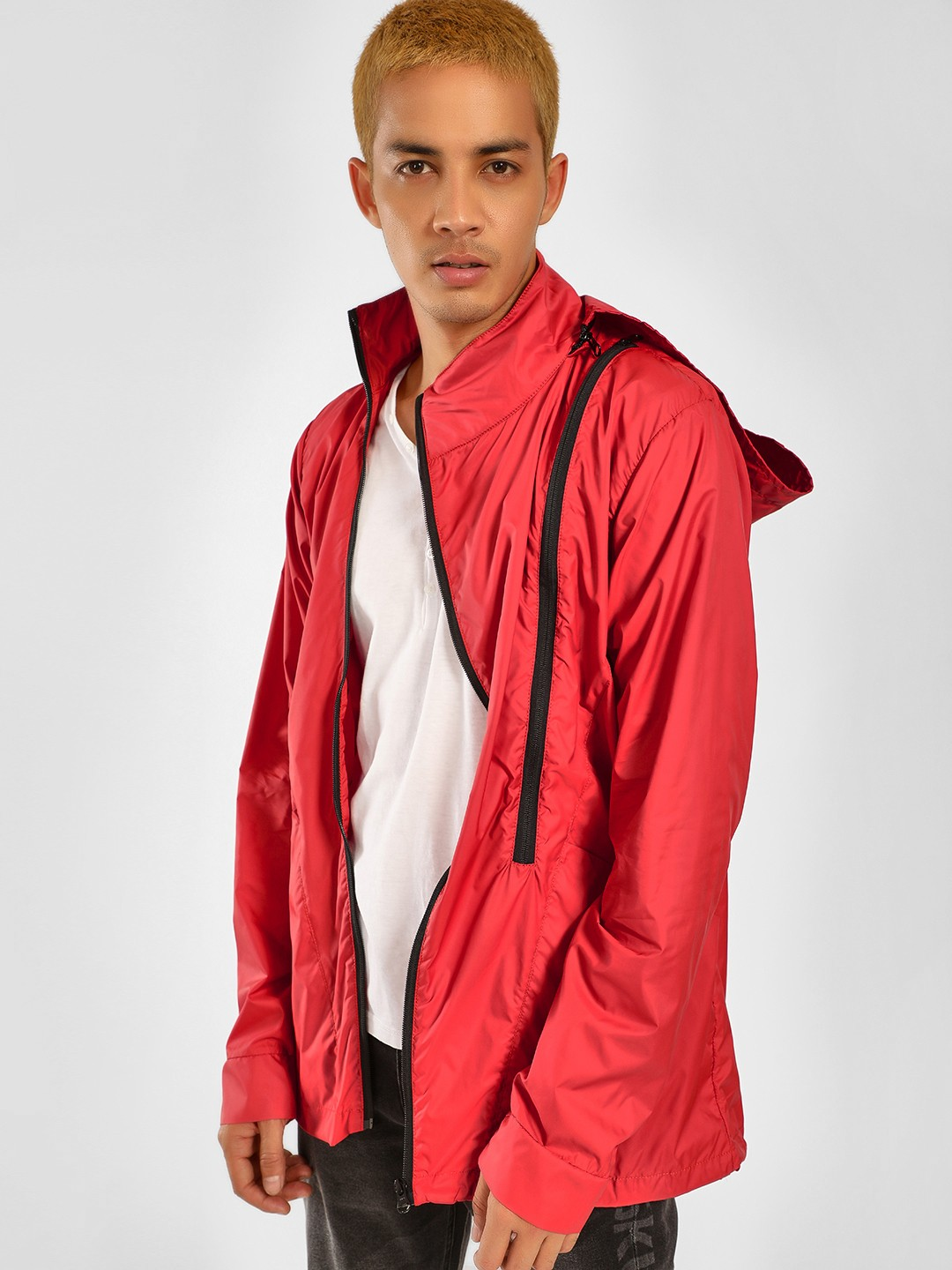 SKULT By Shahid Kapoor Red Panelled Stand Collar Jacket 1