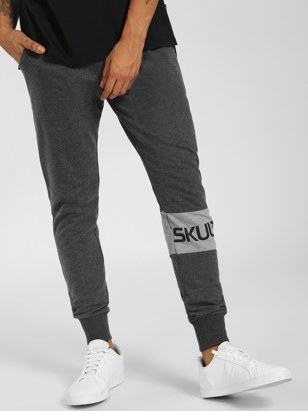SKULT By Shahid Kapoor Grey Text Tape Cuffed Joggers 1