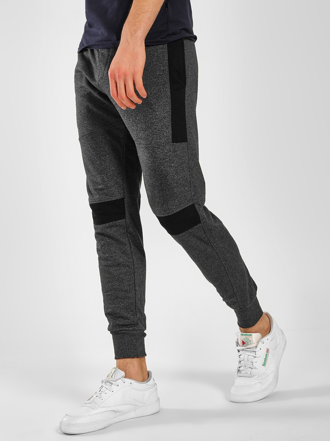 SKULT By Shahid Kapoor Grey Textured Knit Panelled Joggers 1