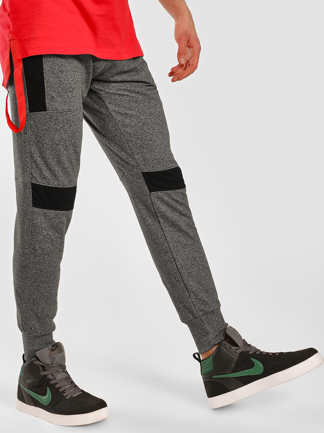 SKULT By Shahid Kapoor Green Textured Knit Panelled Joggers 1