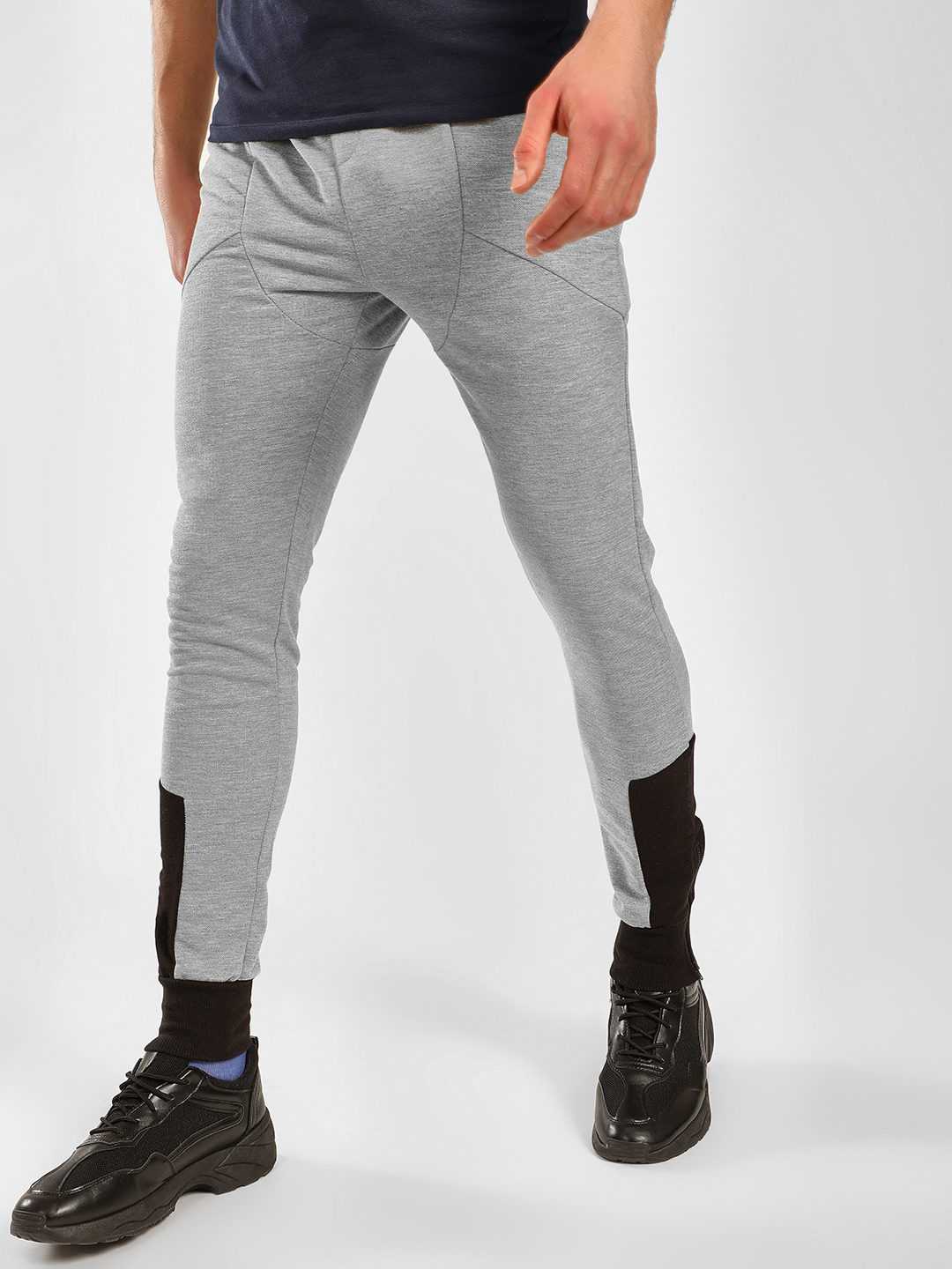 SKULT By Shahid Kapoor Grey Colour Block Panelled Joggers 1